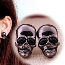Metal Glossy Black Skull Earrings - Heavy Metal Jewelry Clothing
