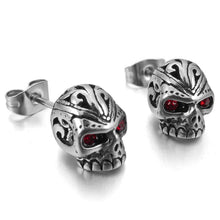 Metal Red Eyes Skull Cubic Zirconia Crystal Earrings - Heavy Metal Jewelry Clothing