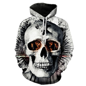 Metal Massive Skull Print Back and Front Hoodie - Heavy Metal Jewelry Clothing