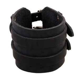 Two Strap Black Suede Leather Bracelet Gauntlet - Heavy Metal Jewelry Clothing