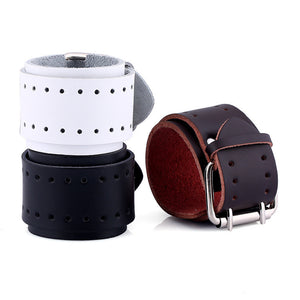 Double Row Buckle Heavy Metal Leather Bracelet - Heavy Metal Jewelry Clothing