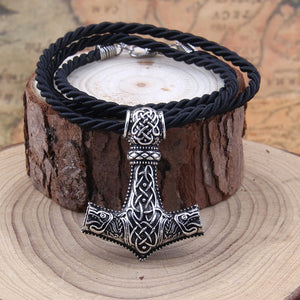 Metal Thor's Hammer Mjolnir Viking Pendant Necklace w/ Optional Box - Heavy Metal Jewelry Clothing