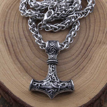 Metal Thor's Hammer Mjolnir Viking Amulet Pendant Necklace with Viking Box - Heavy Metal Jewelry Clothing