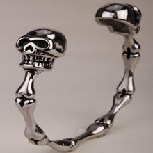 Metal Skull and Bones Bangle Bracelet Stainless Steel - Heavy Metal Jewelry Clothing