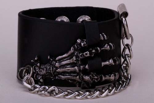 Metal Skeleton Hand Grasp with Chain Leather Bracelet - Heavy Metal Jewelry Clothing