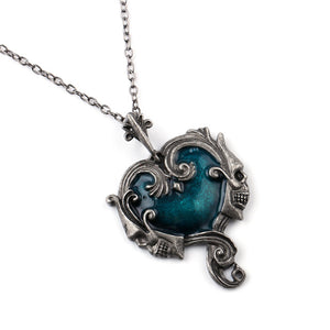 Metal Blue Azul Heart Skull Steampunk Necklace - Heavy Metal Jewelry Clothing