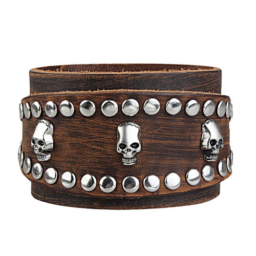 Metal Punk Gothic Skull Stud Bracelet - Heavy Metal Jewelry Clothing