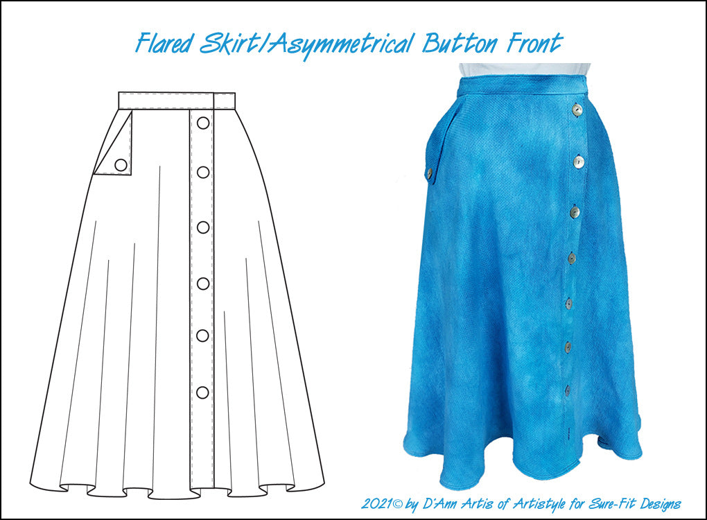 Flared Skirt with Asymmetrical Front