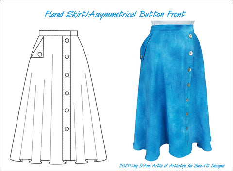 Flared Skirt with Asymmetrical Button Front