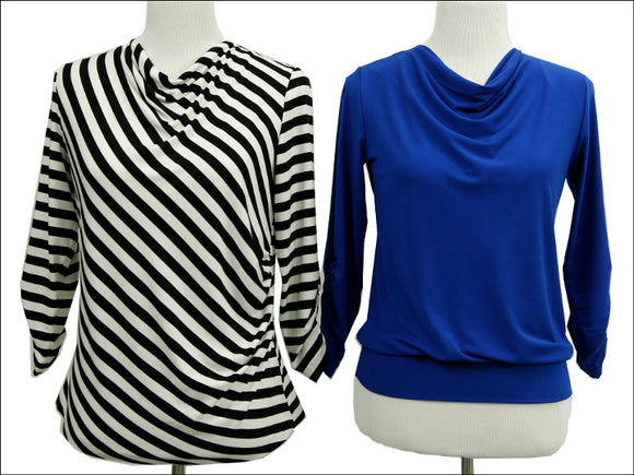 High Neck Cowl Neckline with Split Sleeve