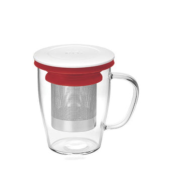 Ming Infuser Glass Mug White Lid/Red Ring