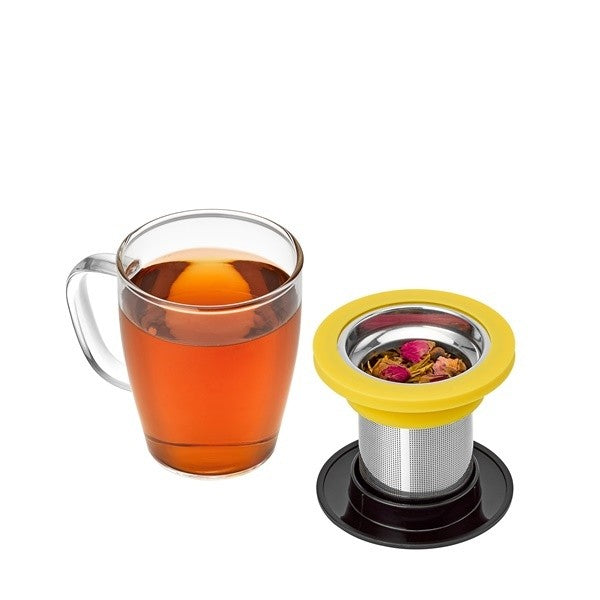 Ming Infuser Glass Mug Black Lid/Red Ring