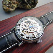 Silver Mechanical Wrist Watch With Black Leather