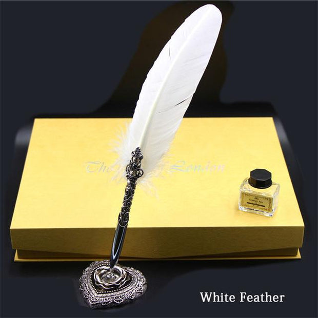 Vintage Feather Pen Set With 5 Nibs, Pen Stand, Stamp, Wax Quill And Signature Pen