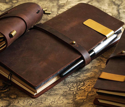 Vintage Leather Travel Diary Notebook