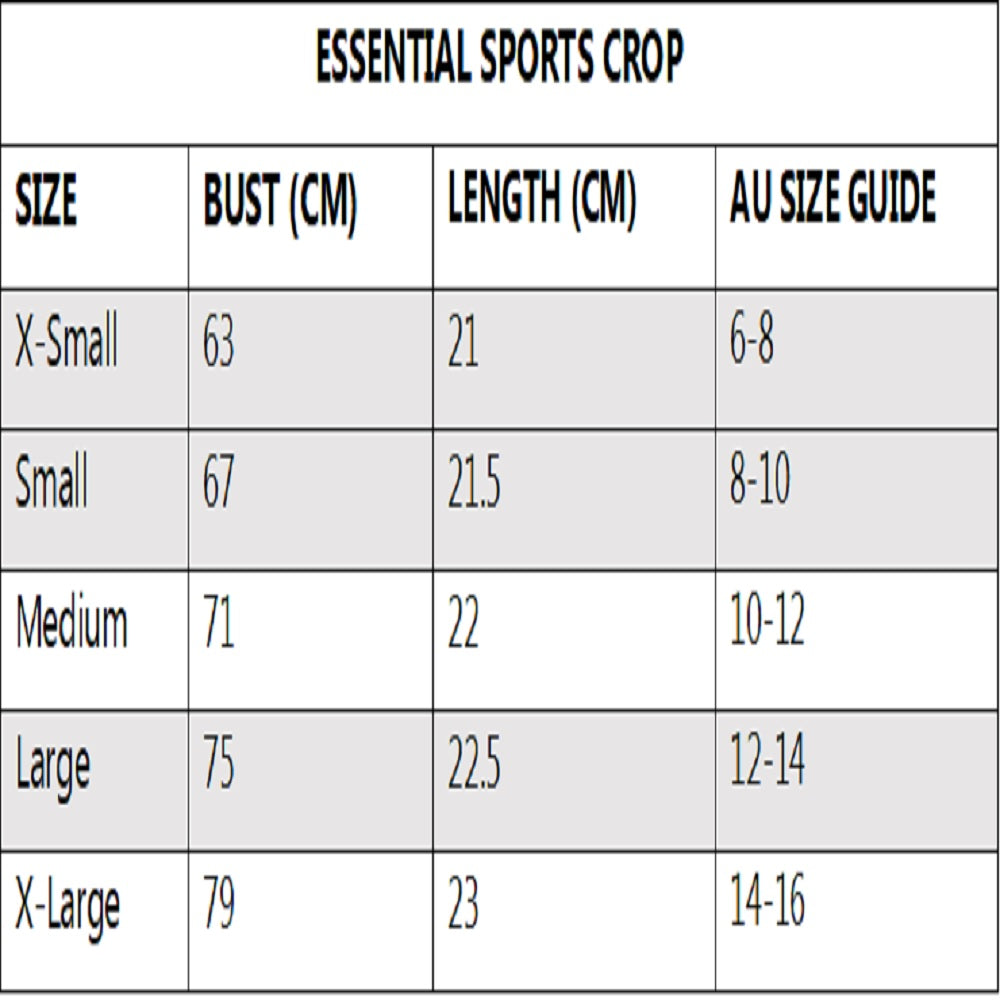 nowflex essential sports crop size chart