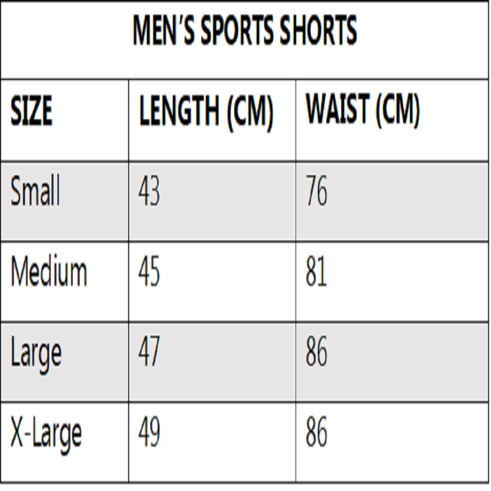 mens sports shorts nowflex size chart