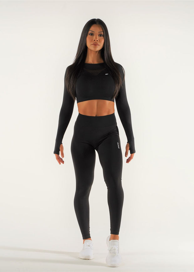Flex Seamless Long Sleeve Crop Top - Raven - NowFLEX