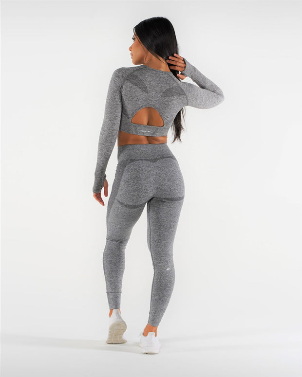 Flex Seamless Long Sleeve Crop Top - Coal - NowFLEX