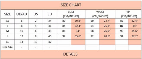 Size Chart at Fashion Genie Boutique