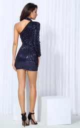 Mystique Navy Sequin One Shoulder Mini Choker Dress - Fashion Genie Boutique USA Alt