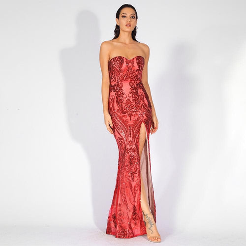 Sweet Vision Red Strapless Sequin Spilt Maxi Gown Dress - Fashion Genie Boutique