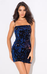 Night Sky Navy Iridescent Sequin Mini Dress - Fashion Genie Boutique USA Alt
