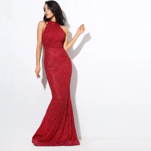 Upon A Dream Red Sequin Maxi Dress - Fashion Genie Boutique USA Alt
