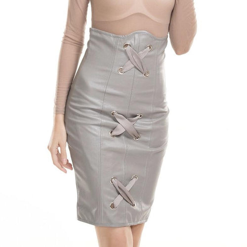 Cross Cross Grey Faux Leather High Waisted Mini Skirt - Fashion Genie Boutique