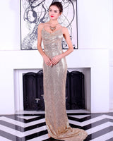 Boulevard Beauty Champagne Sequin Maxi Gown Party Dress - Fashion Genie Boutique