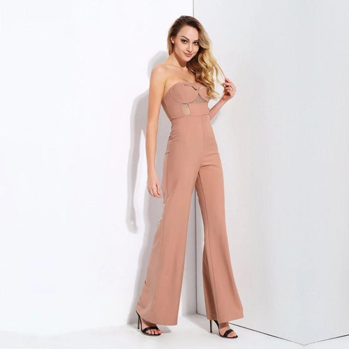Utter Perfection Nude Strapless Wide Leg Jumpsuit - Fashion Genie Boutique