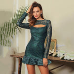 Fleeky Friday Green Glitter Long Sleeve Ruffle Mini Dress - Fashion Genie Boutique