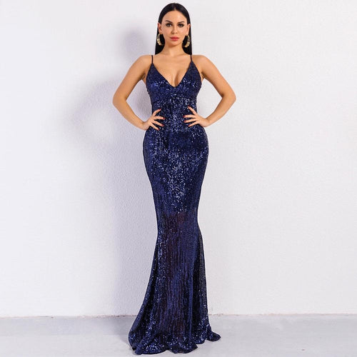 Prima Donna Navy Sequin Fishtail Maxi Dress - Fashion Genie Boutique USA Alt