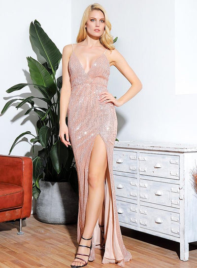 Elegantly Blissful Rose Gold Plunge Sequin Spilt Maxi Dress