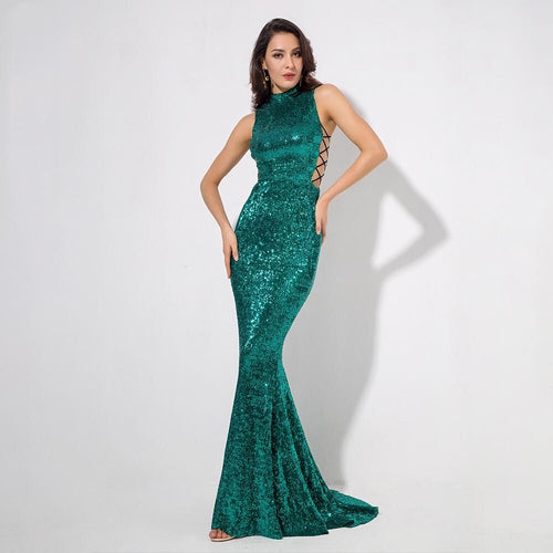 Million Dollar Babe Green Sequin Maxi Fishtail Gown Dress - Fashion Genie Boutique