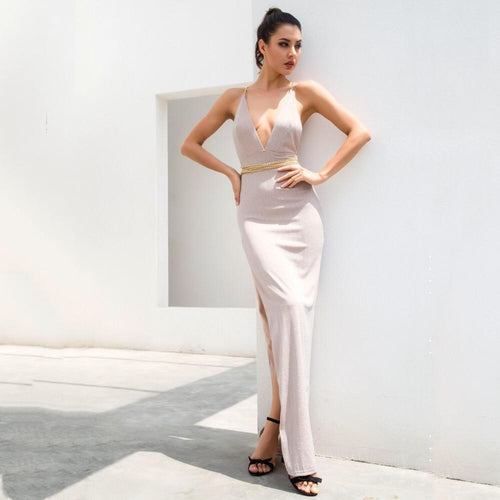 Throwing Shade Nude Side Slit Chained Maxi Dress - Fashion Genie Boutique