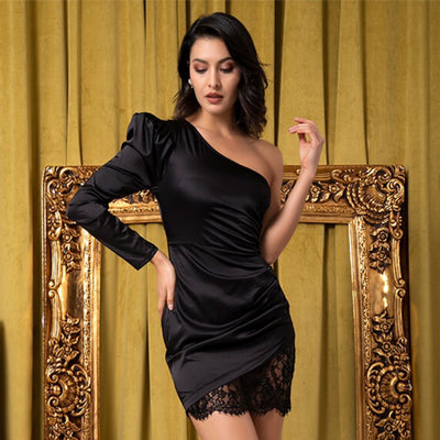Dream Boat Black Asymmetrical Mini Dress