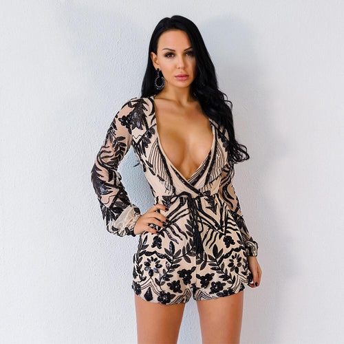 Goal Getter Black & Nude Sequin Long Sleeve Playsuit - Fashion Genie Boutique