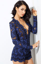 Bordeaux Lust Blue Crochet Long Sleeve Romper - Fashion Genie Boutique USA Alt