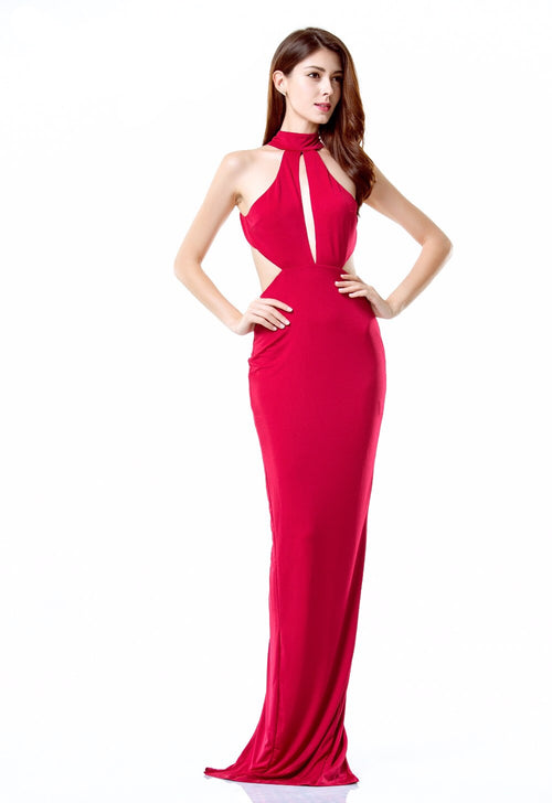 Own the Night Red Cut Out Maxi Dress - Fashion Genie Boutique USA Alt