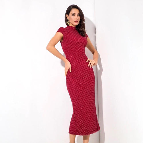 Don't Blame Me Red Glitter Embellished Midi Dress - Fashion Genie Boutique