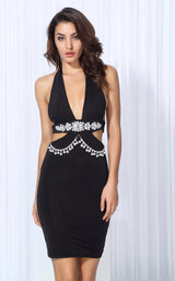 Envy Black Crystal Embellished Bodycon Mini Dress - Fashion Genie Boutique USA Alt