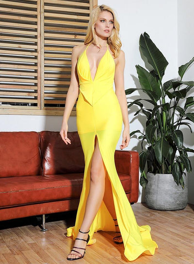 Spanish Dancer Yellow Plunge Front Split Maxi Fishtail Dress