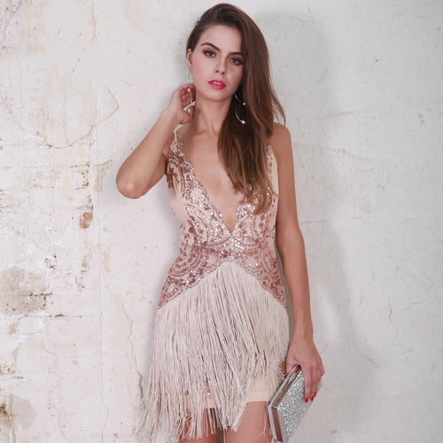 Strike a Rose Rose Gold Fringe Sequin Mini Dress - Fashion Genie Boutique