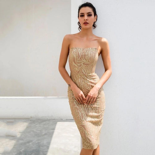 Little Dancer Gold Glitter Embellished Strapless Midi Dress