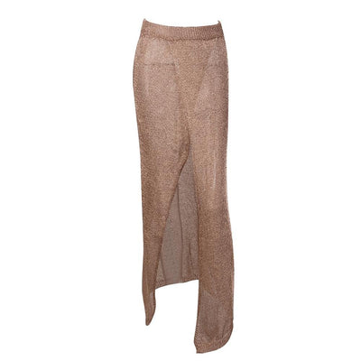 Baby Cakes Gold Metallic Knit Maxi Skirt - Fashion Genie Boutique USA Alt