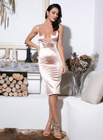 Don't Call Me Up Nude Plunge Satin Mini Dress - Fashion Genie Boutique