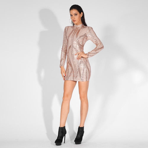 I See Fire Rose Gold Sequin Mesh Long Sleeve Mini Dress - Fashion Genie Boutique