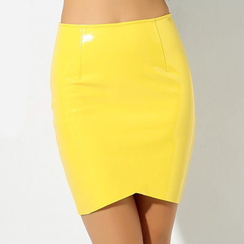 League Of Your Own Yellow Faux Leather Mini Skirt - Fashion Genie Boutique USA Alt