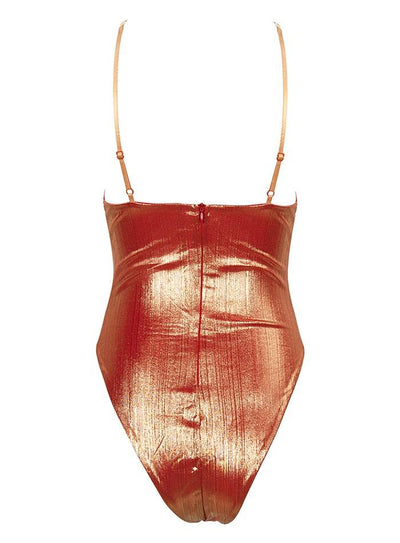 Say It Isn't So Orange Iridescent Chain Strap Cut Out Bodysuit - Fashion Genie Boutique